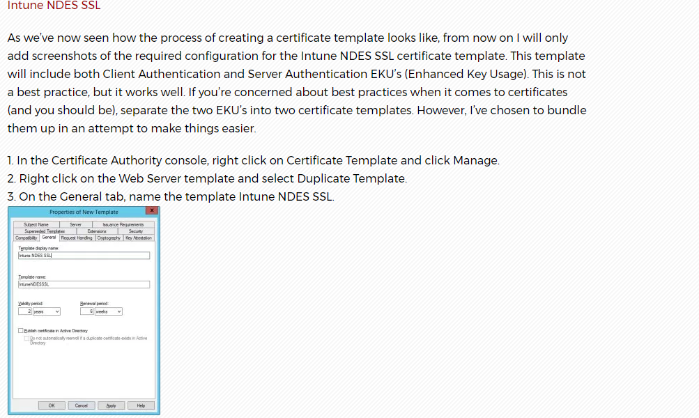 Message failed intune ndes connector what it doesnt tell you is that this connector does not accept certs issued with a template above schema version 2 yadclub Images
