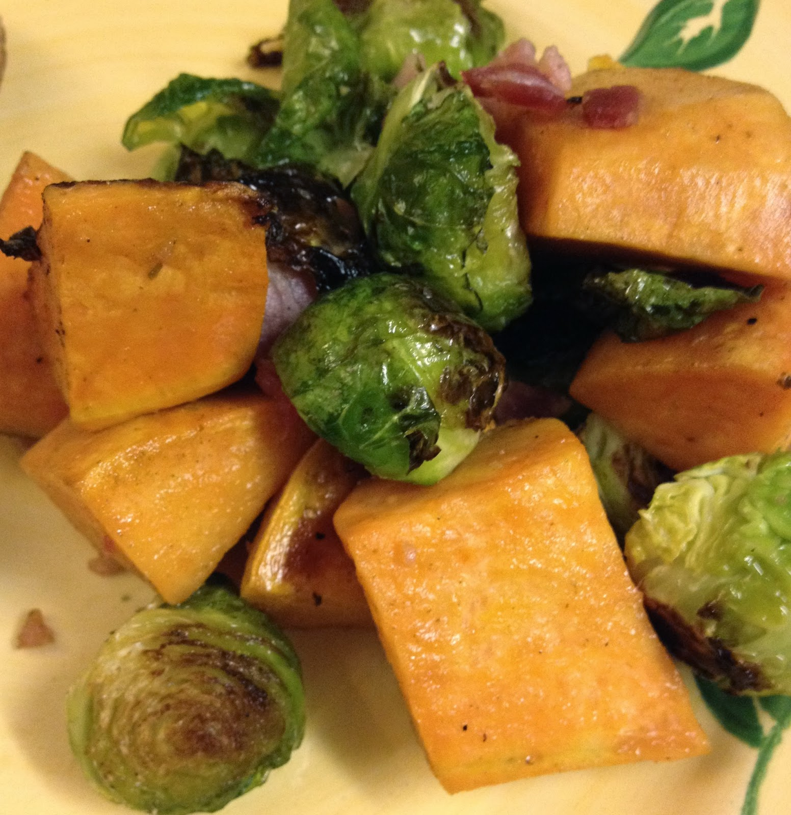 Roasted Brussels Sprouts & Sweet Potatoes with Bacon
