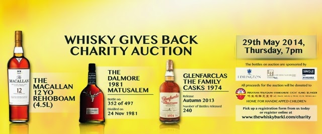 Whisky Charity Auction, the whisky bar kl, the Macallan 12 YO Rehoboam 4.5L, the Dalmore 1981 Matusalem and Glenfarclas The Family Casks 1974.