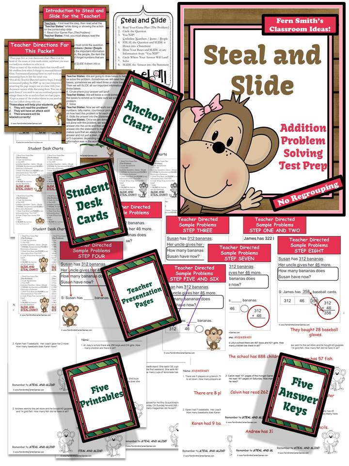 Test Prep Monkey Steal and Slide Method - Addition No Regrouping