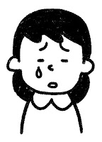 ■の表情のイラスト(泣き)白黒線画