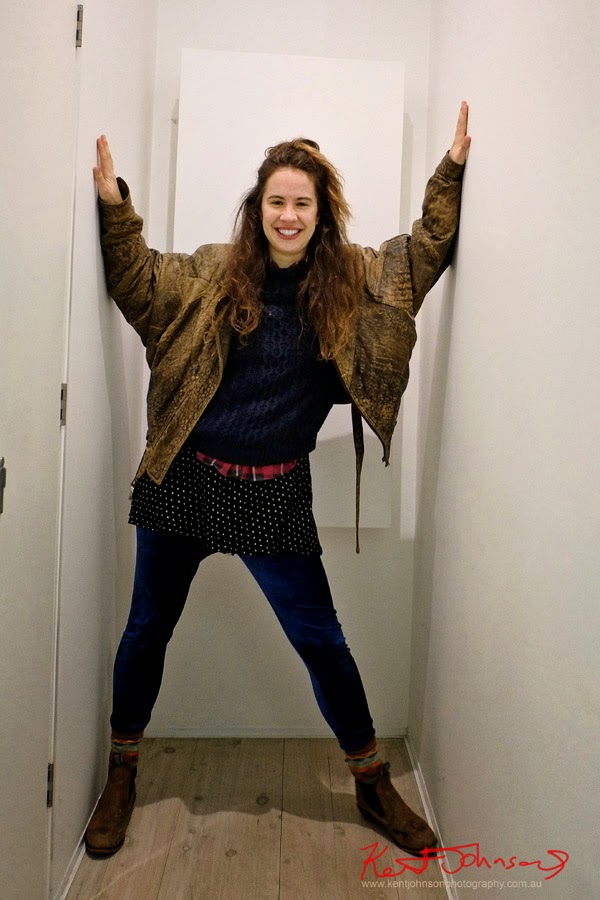 Art student Style, Winter in Sydney, Layering, Leather Jacket, Knits, Fabrics, Velour Leggings, Work Boots, Cable Knit, Flannelette Shirt at Gallery 9 Darlinghurst Sydney.
