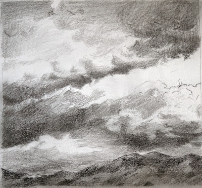 atmospheric, clouds, Angeles Forest, small sketch,  Katherine Kean, graphite on paper
