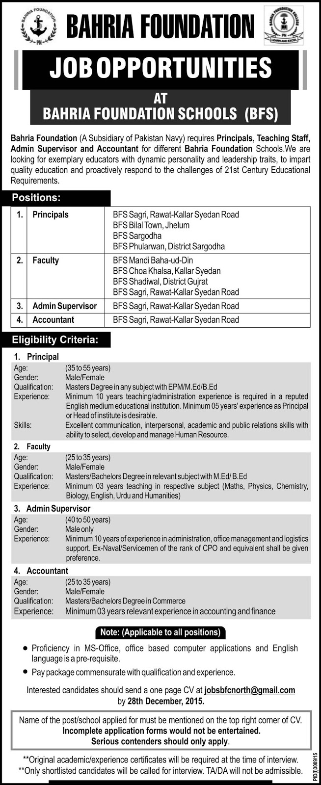 Teachers & Admin Jobs in Bahria Foundation Schools