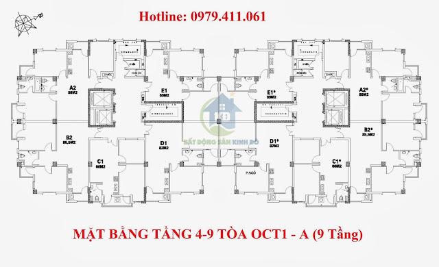 Chung cư OCT1 Resco Phạm Văn Đồng, Cổ Nhuế, Xuân Đỉnh Mở bán các căn diện tích nhỏ 59m2- 61m2-82m2-85m2!