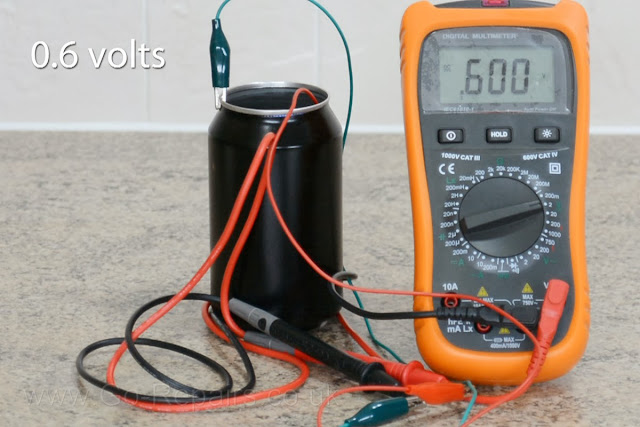 Volts from cola can battery