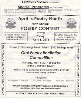 Kinnelon's 2011 Poetry Contest: April 28 Deadline