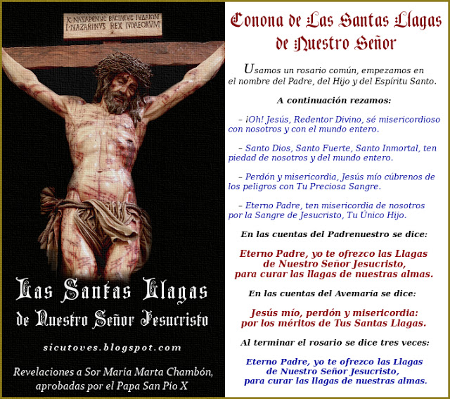 DEVOCIÓN A LAS SANTAS LLAGAS por Sor María Marta Chambón