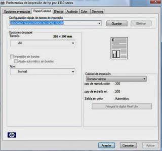 fast draft printer menu