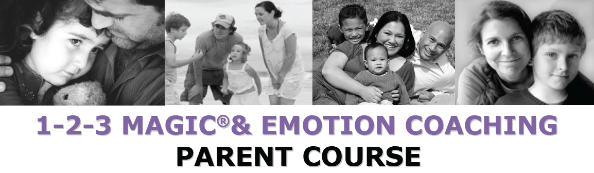 "4 photos of families with caption ""1-2-3 Magic & Emotion Coaching Parent Course"""