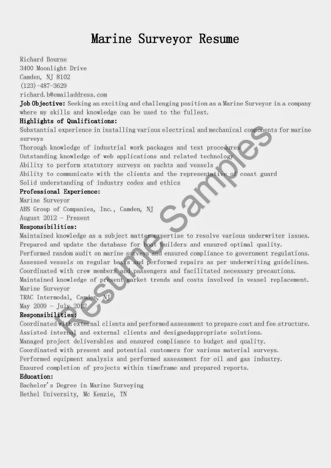 resume samples  marine surveyor resume sample