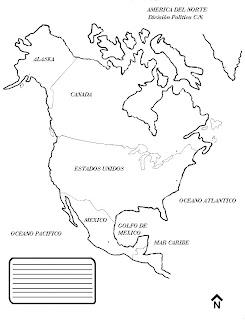 Mapa de América del Norte con nombres para imprimir