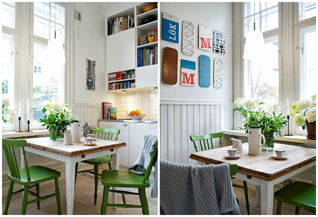 Peque o piso escandinavo en verde y azul la garbatella for Decorar piso pequeno estilo nordico