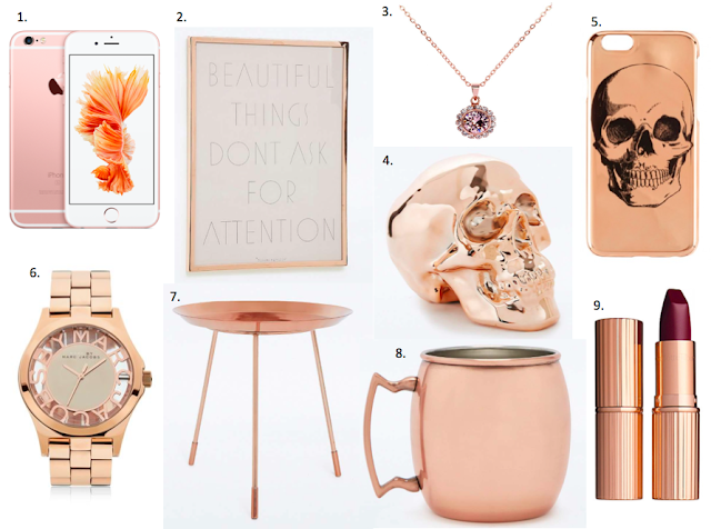Rose Gold Copper Wish List Christmas Gift Ideas Apple iPhone, charlotte tilbury, urban outfitters, ted baker, house of Fraser, paperchase jewellery home decor