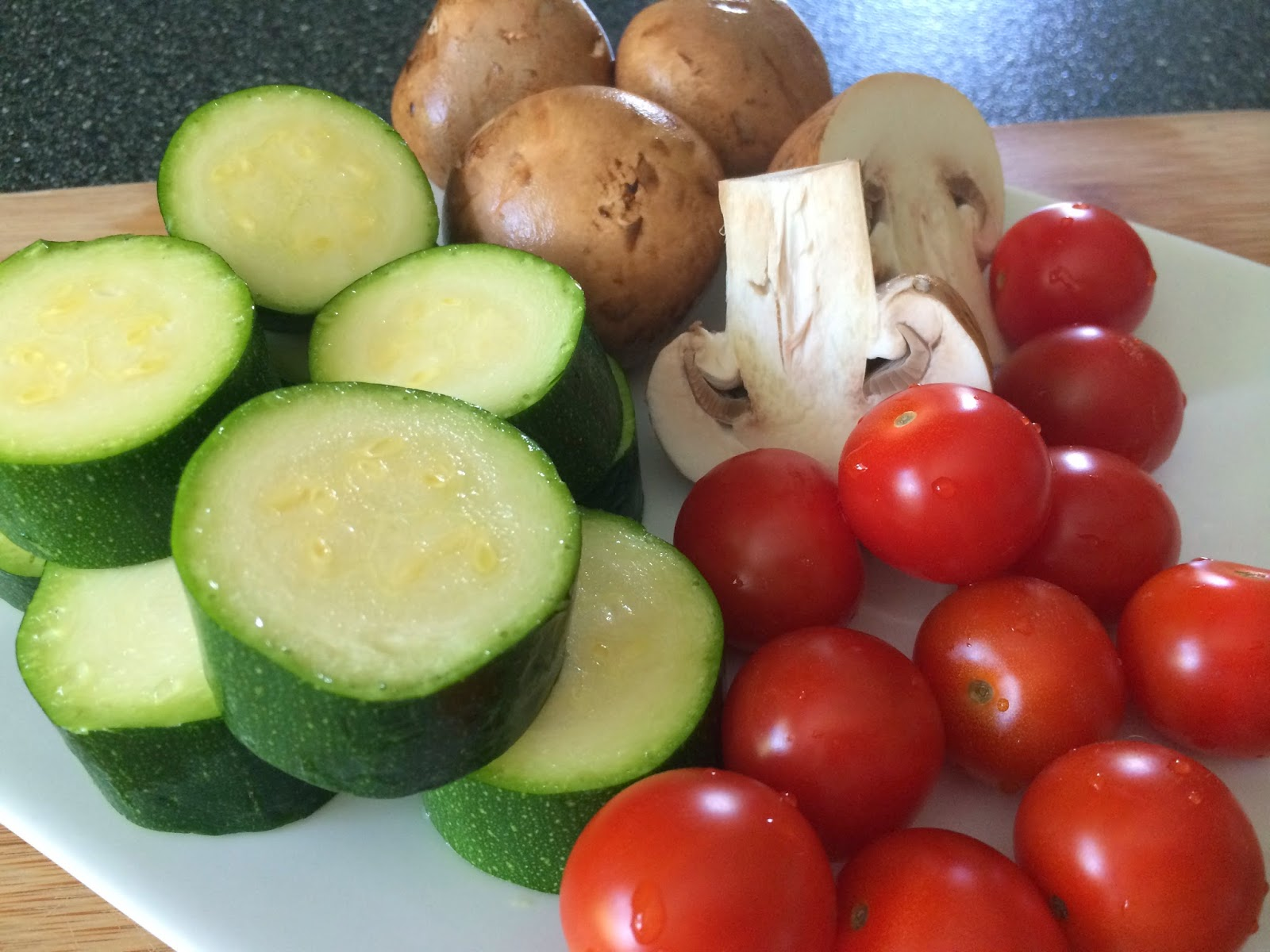 tomatoes, crimini mushrooms, zucchini, fresh veggies