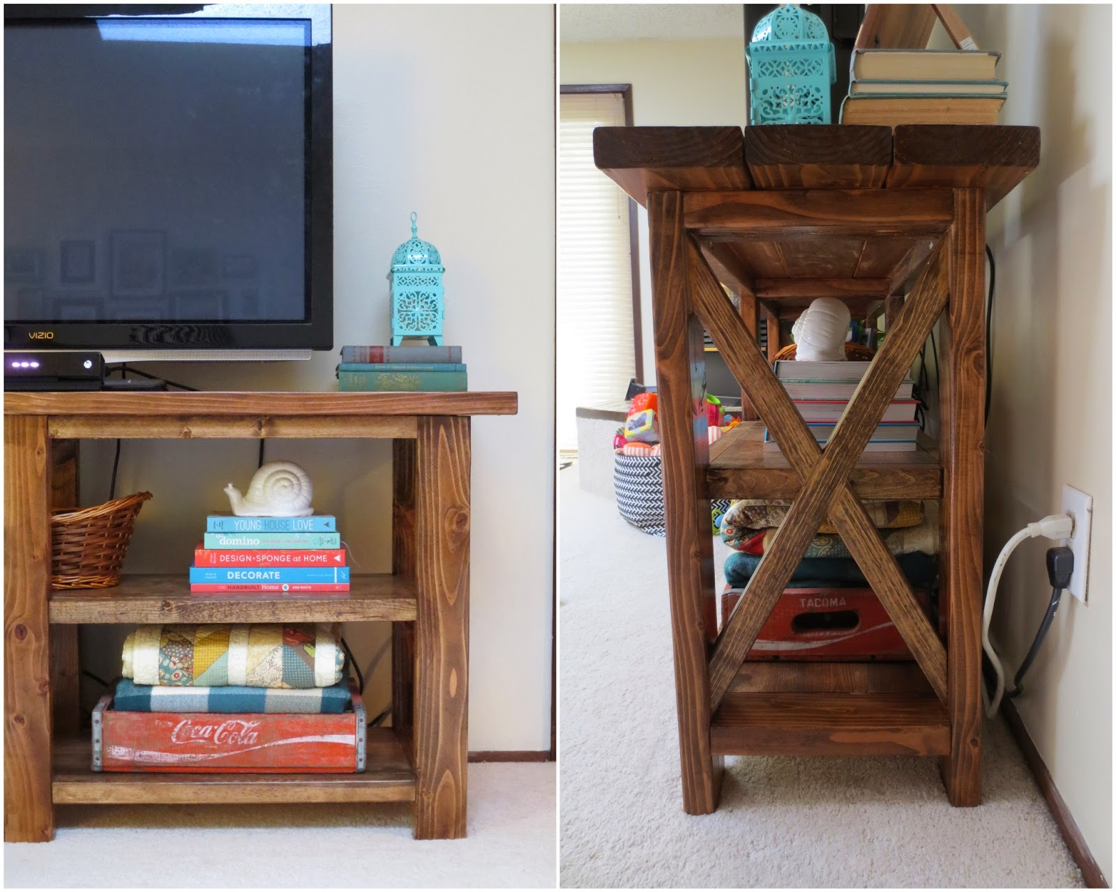 Make bake and love diy rustic console table zach was awesome and built this whole thing all by himself during the last two weeks of busy season hes definitely getting in as many diy projects as he geotapseo Choice Image