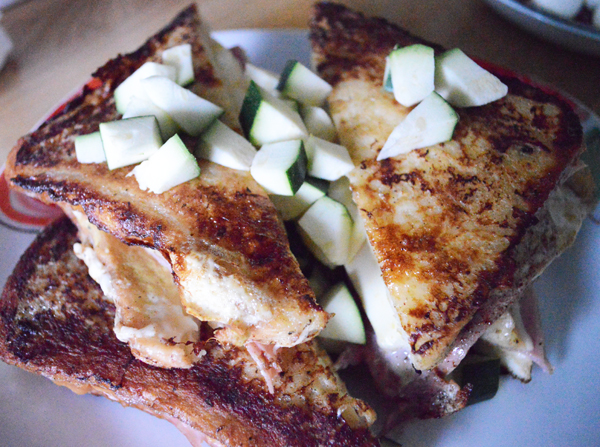 French toast with cheese and ham