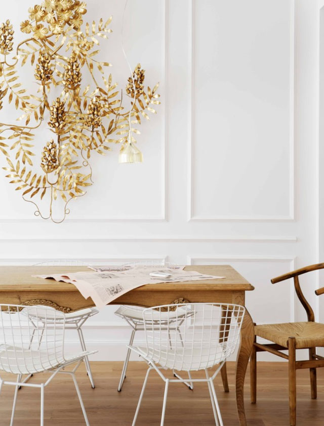 Transitional Modern with Harry Bertoia Wire Chairs, Hans Wegner CH24 Wishbone Chair and the Kartell E Lamp available from Stardust.com (Interior Design by Mikel Irastorza).