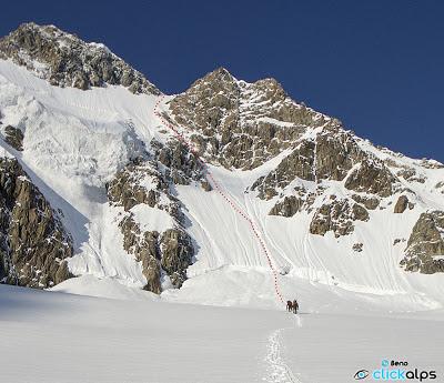 Monte Disgrazia - parete nord - tracciato della via Schenatti