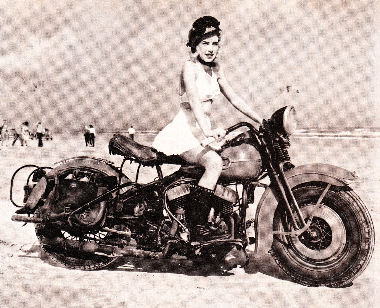Vintage girls on motorcycles