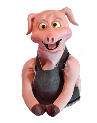 Pig Latex Puppet with apron from AllProPuppets