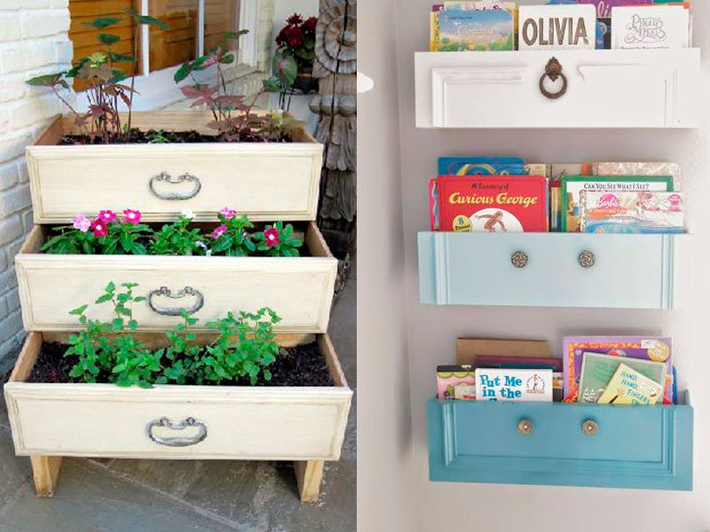 10 ideias criativas e úteis para móveis e objetos: transformando gaveta em canteiro para plantas ou suporte para livros
