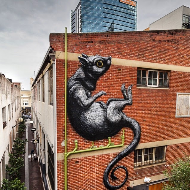 After a field trip to Pilbara (Covered), ROA is still in Australia where he just wrapped up this new piece on the streets of Perth, Australia.