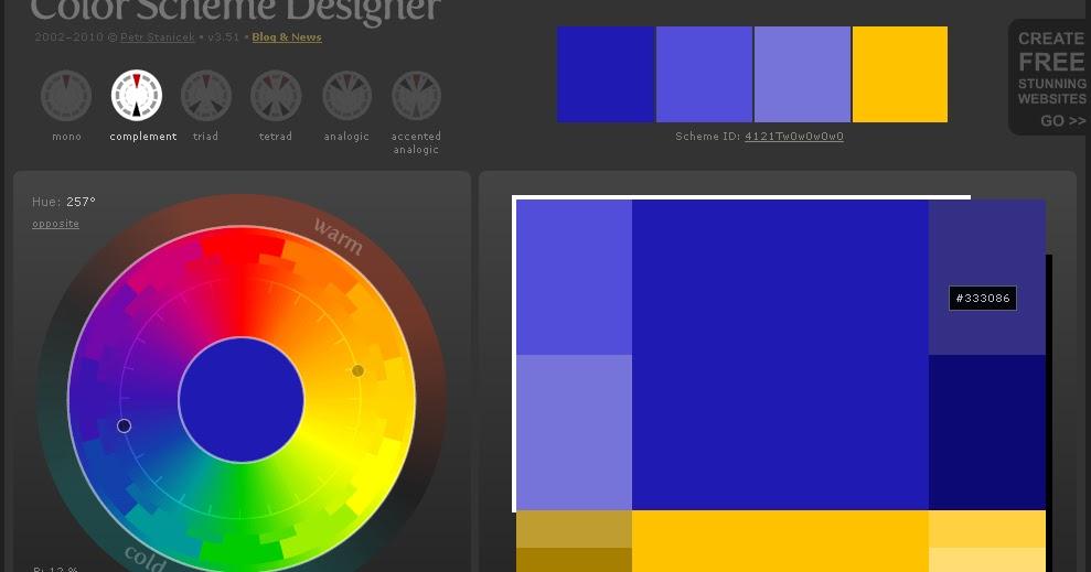 mencari perpaduan warna di colorschemedesigner