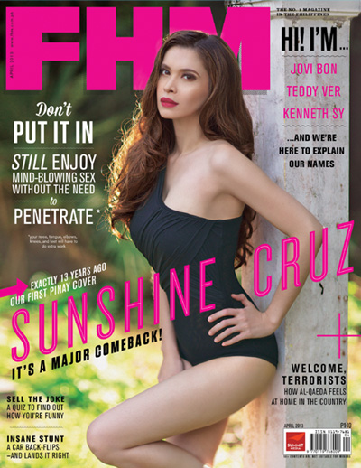 Sunshine Cruz-makes a splashing comeback as FHM April 2013 cover babe!