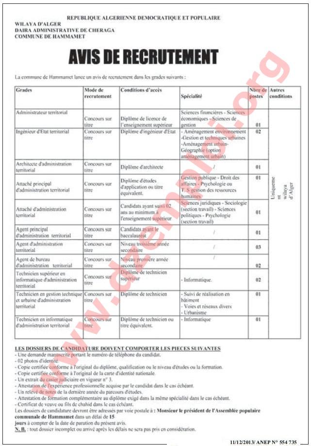 إعلان مسابقة توظيف في بلدية الحمامات دائرة الشراقة ولاية الجزائر العاصمة ديسمبر 2013 Alger+1.JPG