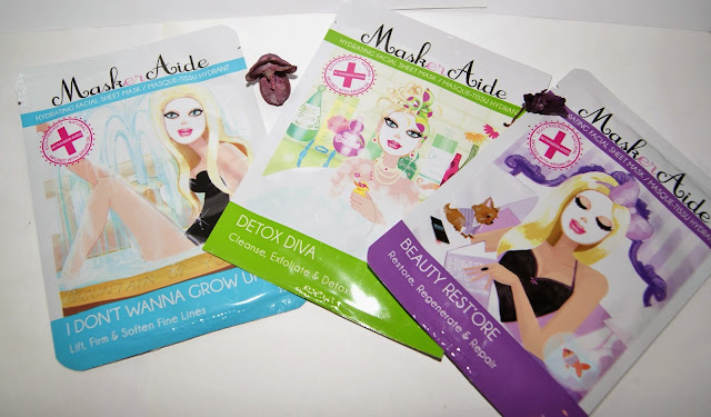 MaskerAide Facial Sheet Masks: IDon't Wanna Grow Up, Detox Diva, Beauty Rest'ore, review, skincare, face, toronto, ontario, canada, the purple scarf, melanieps