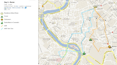 Day 5, rome, italy, map, google maps, colosseum, forum,