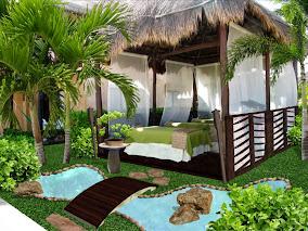 foto diseño de jardines pequeños - laguna artificial