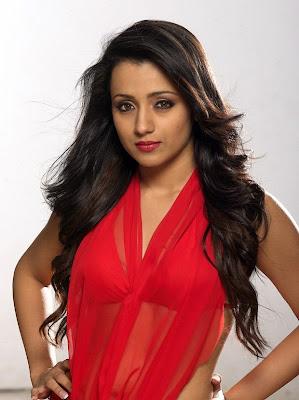glamorous and sweet Trisha in red dress photoshoot