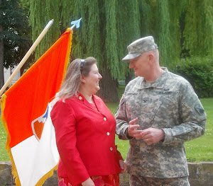 It really happened!  Amy and Col. Geoff, 7th Army Signal Brigade.