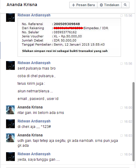 Ananda Krisna Penipu Game Online Chat FB 2
