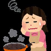 料理に失敗した女性のイラスト