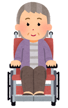 車椅子に乗ったお婆さんの表情イラスト(笑顔)