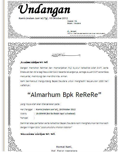 jpeg, Contoh Undangan Yasin Tahlil 40 Hari Format Ms Word Undangan ...