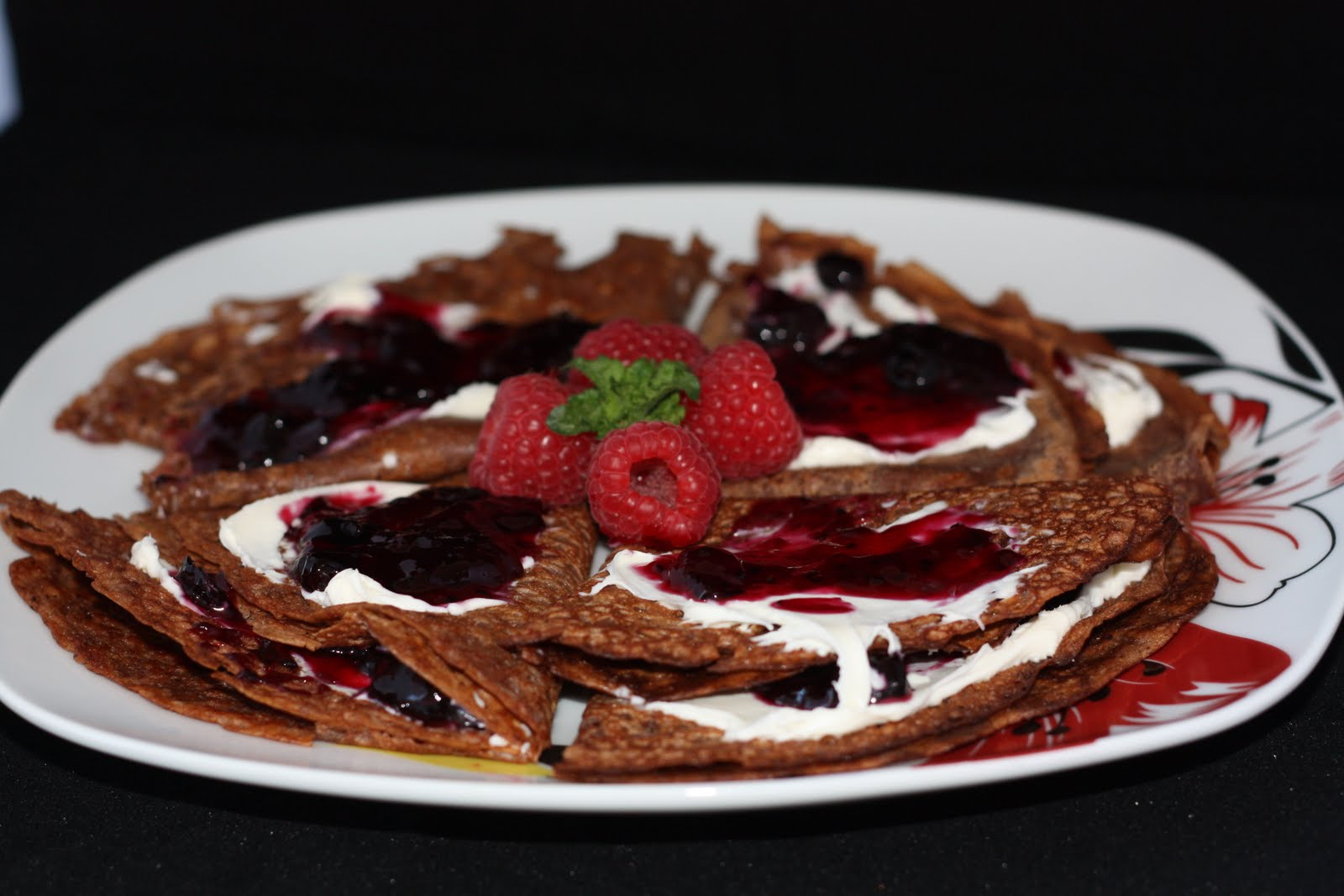 Chocolate Crepes w. Mascarpone and Black Currant Jam | Passing Thyme