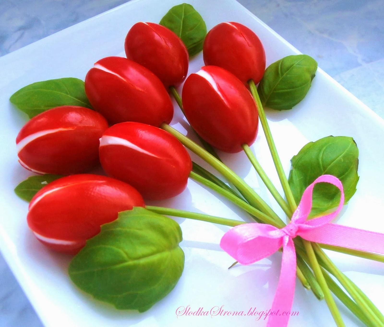 Tulipany z Pomidorków Koktajlowych - Przepis - Słodka Strona