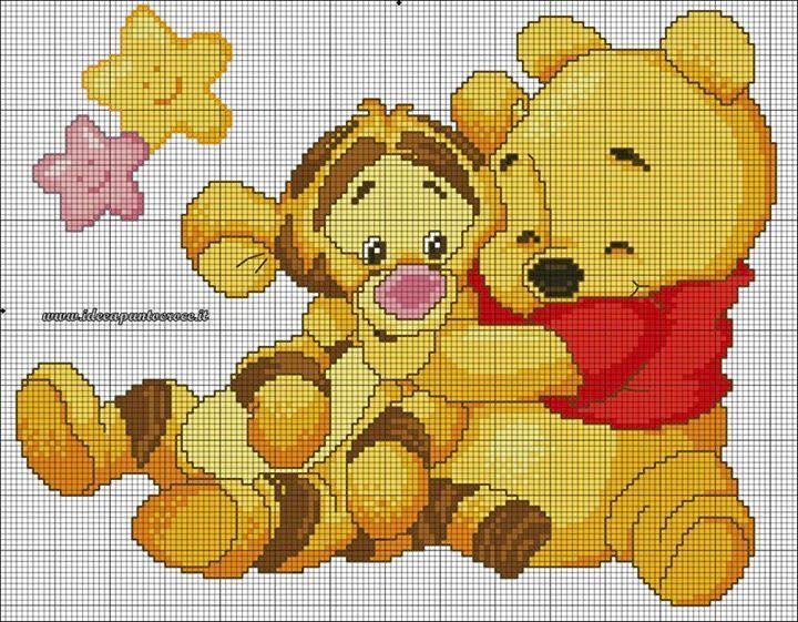 Encantos em ponto cruz ursinho pooh for Punto croce disney winnie the pooh