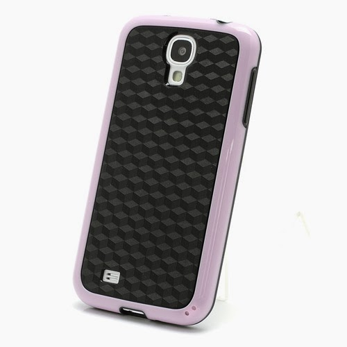 Cool 3D Cube Texture TPU Case for Samsung Galaxy S 4 IV i9500 i9505 - Black / Pink