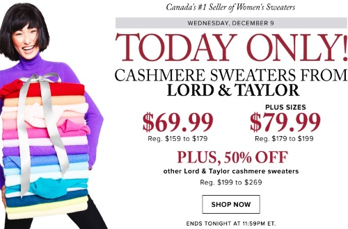 Hudson's Bay Cashmere Sweaters From Lord & Taylor $69.99 (Reg $159-$179)