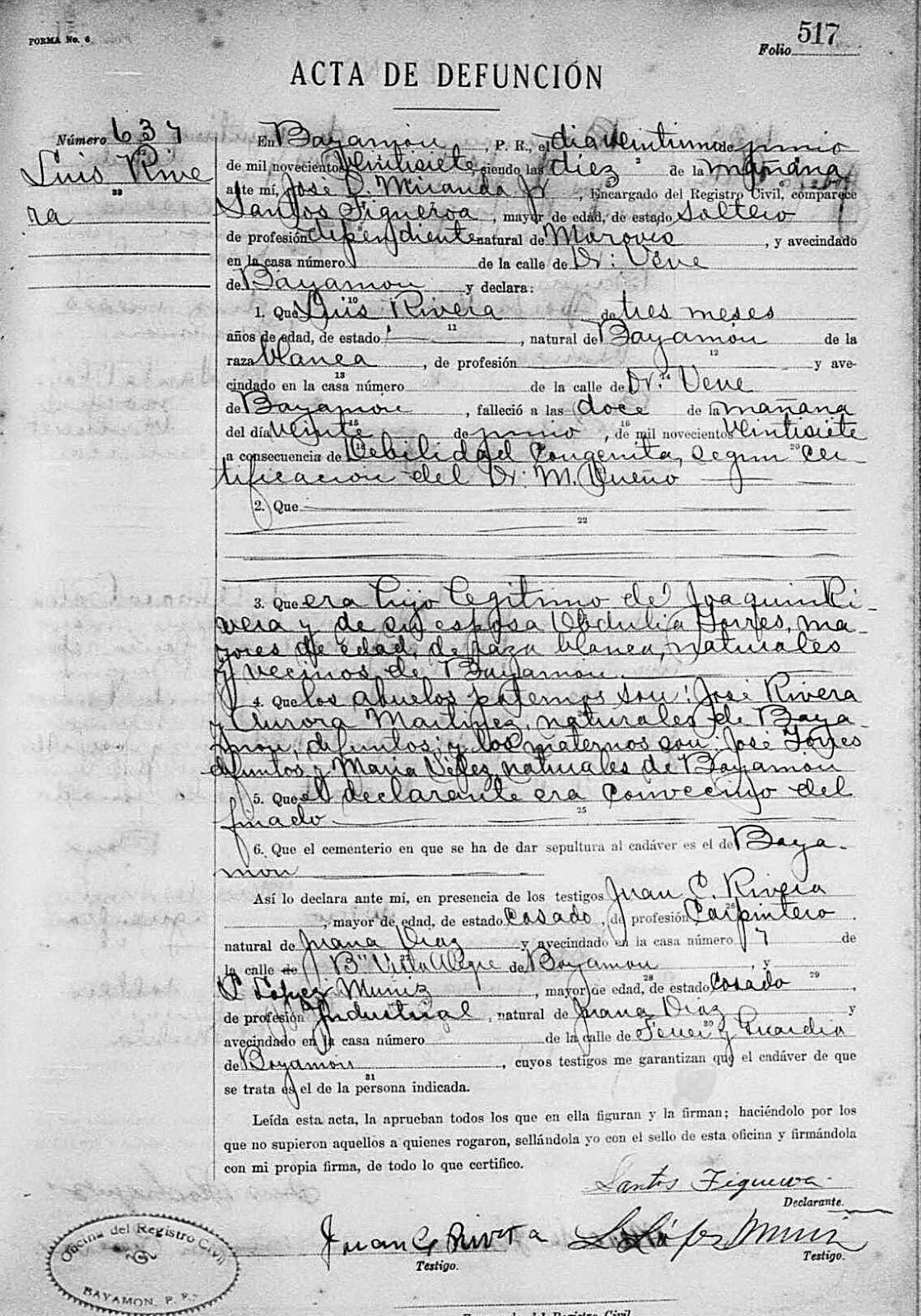 A3genealogy puerto rican wwi era research parti vital records of births and deaths were recorded in spanish at the local puerto rican oficina del rigistro civil visit puerto rico civil registrations aiddatafo Gallery
