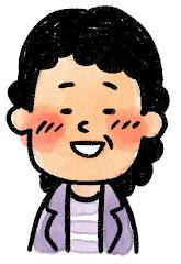 おばさんの表情のイラスト(照れ)