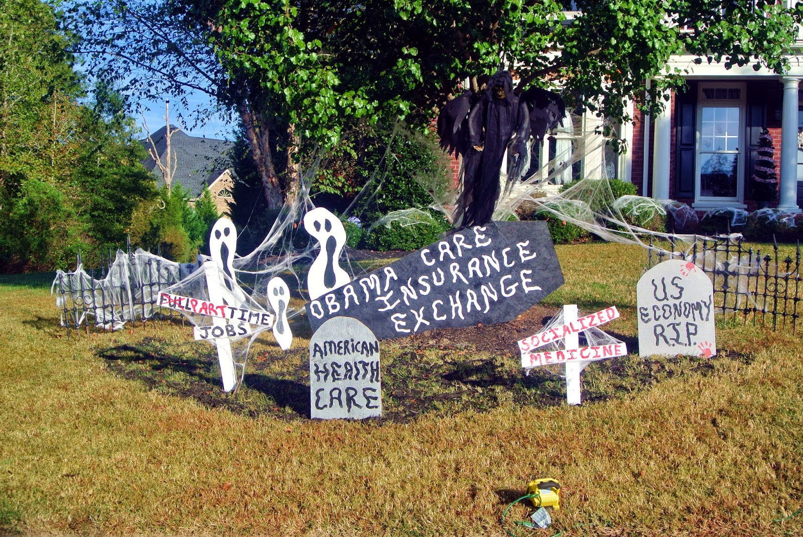 Backyard Halloween Party Ideas Adults : Obamacare Halloween Yard Decorations News Report Video