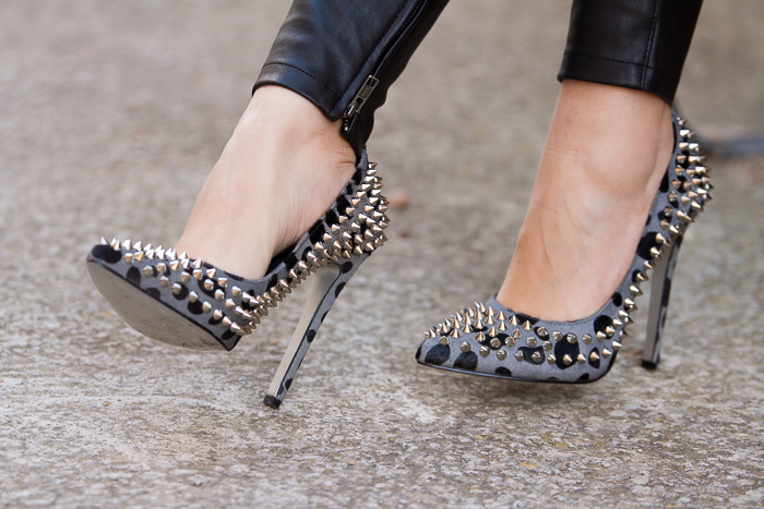 Spiked Leopard Stilettos ponyhair SAINT by KANDEE SHOES
