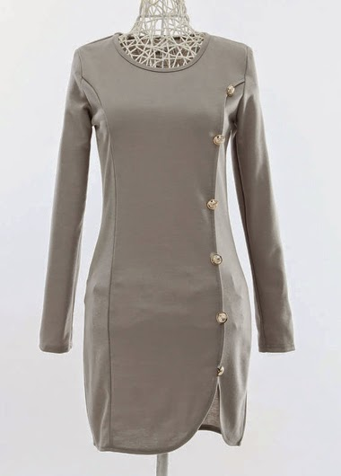 Vestido Casual Corto Manga Larga con Botones Laterales