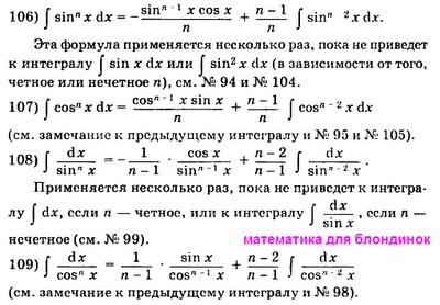 Таблица интегралов. Формулы интегралов синус и косинус в степени n. Математика для блондинок.